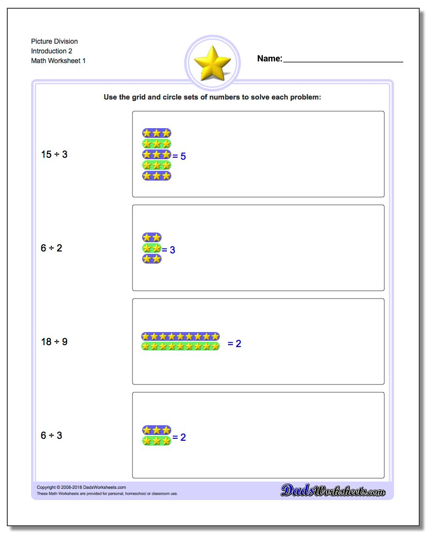 Picture Math Division Worksheet Introduction 2