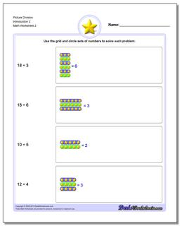 Picture Division Worksheet Introduction 2 www.dadsworksheets.com/worksheets/picture-math-division.html