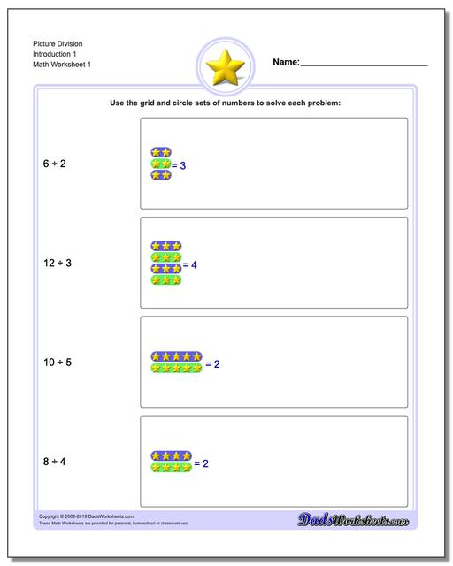 Picture Math Division Worksheets Introduction 1