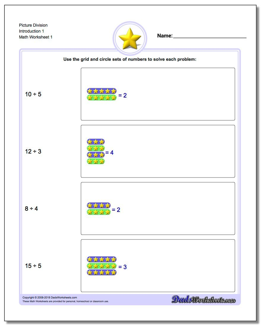 Picture Math Division – Problem Solving Division Worksheets