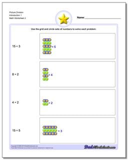 Picture Division Worksheet Introduction 1 www.dadsworksheets.com/worksheets/picture-math-division.html