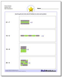 Picture Division Worksheet Random Grid 1 www.dadsworksheets.com/worksheets/picture-math-division.html