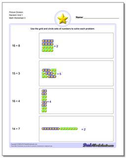 Picture Division Worksheet Random Grid 1