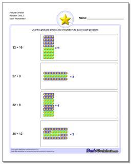 Picture Math Division Worksheet Random Grid 2