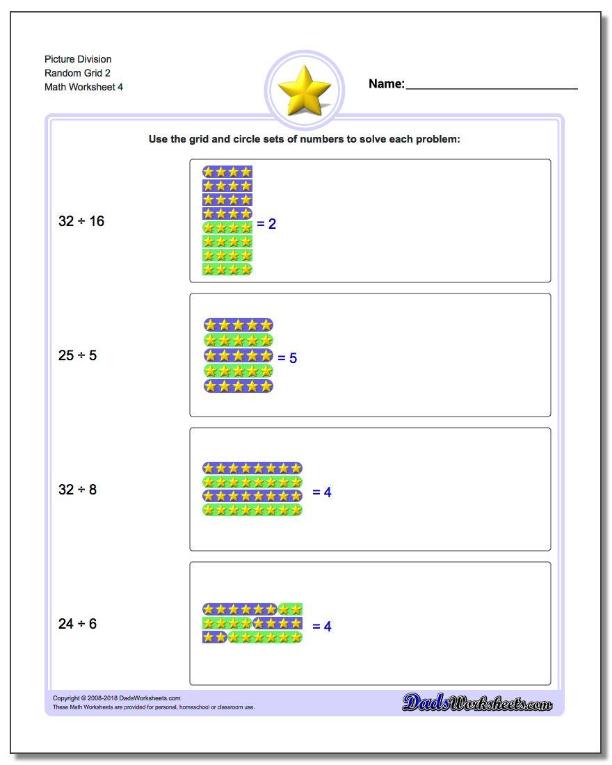 Picture Division Worksheet Random Grid 2