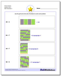 Picture Math Division Worksheet Random Grid 3