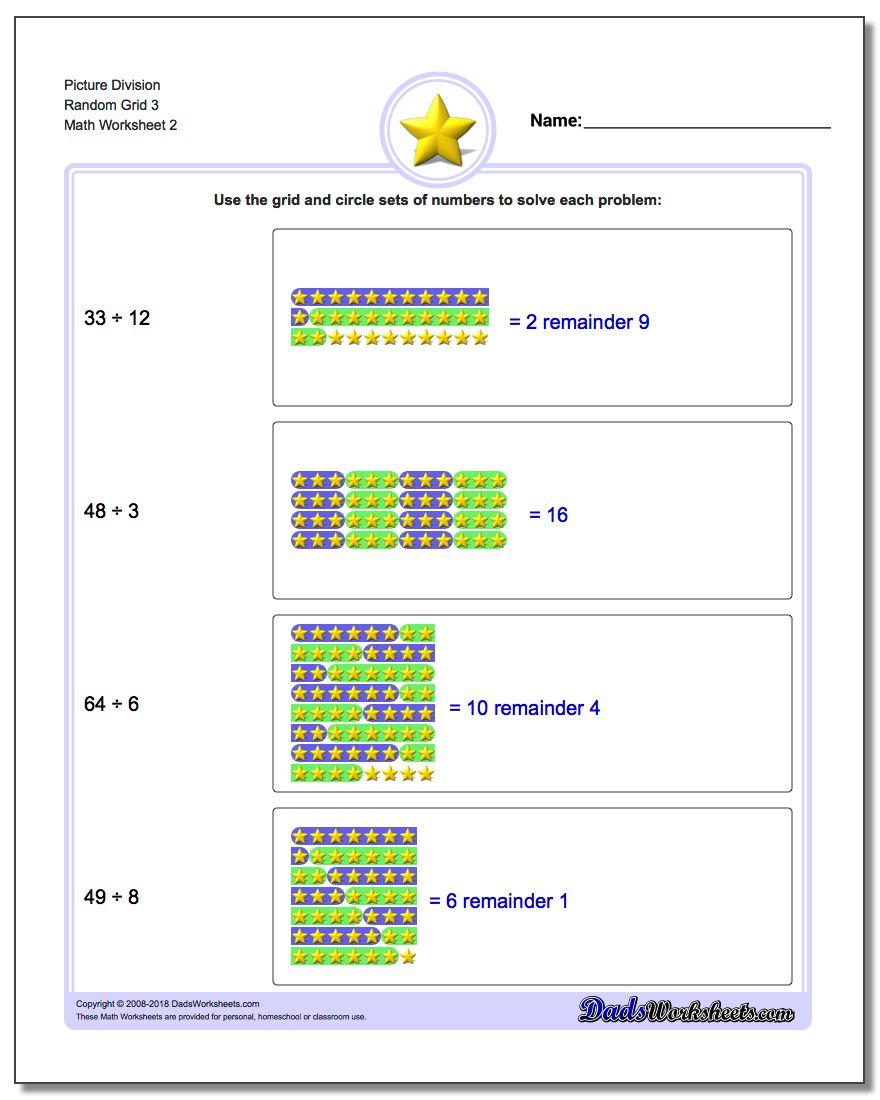 Picture Division Worksheet Random Grid 3 www.dadsworksheets.com/worksheets/picture-math-division.html