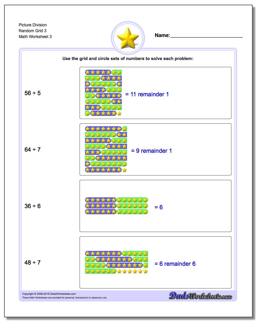 Picture Division Worksheet Random Grid 3