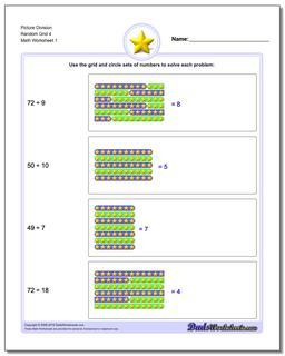 Picture Math Division Worksheet Random Grid 4