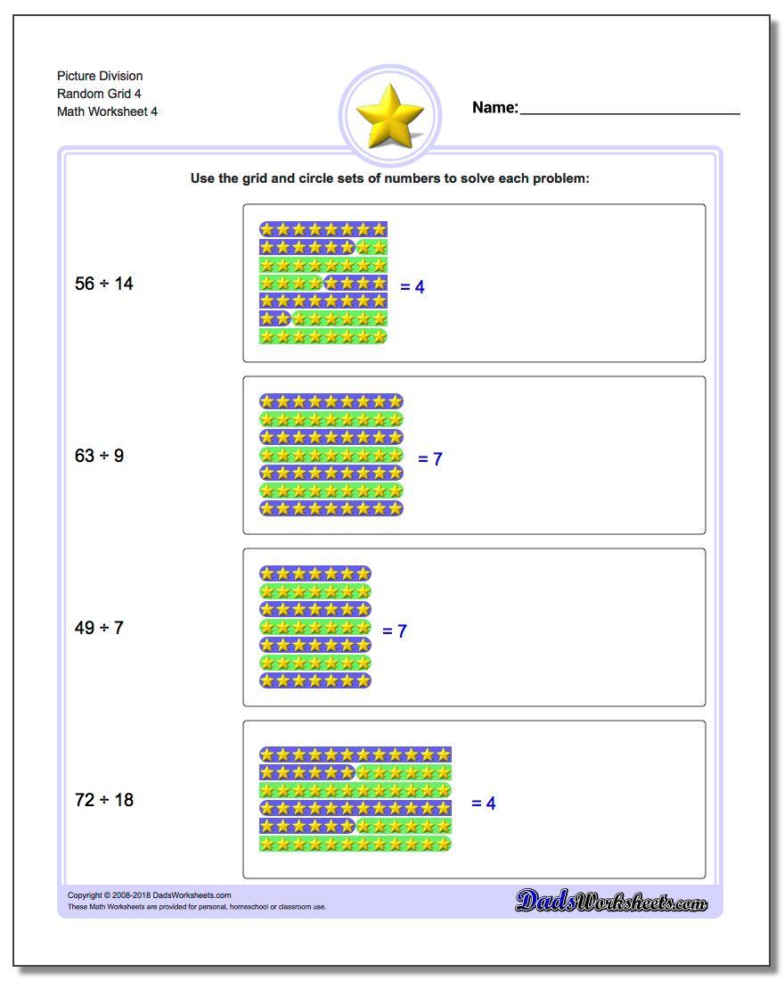 Picture Division Worksheet Random Grid 4
