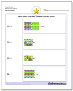 Picture Math Division Worksheet Random Grid by Fives