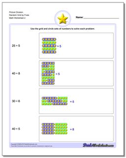 Picture Division Worksheet Random Grid by Fives www.dadsworksheets.com/worksheets/picture-math-division.html