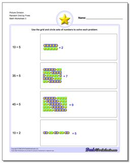 Picture Division Worksheet Random Grid by Fives