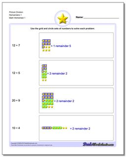 Picture Math Division Worksheet Remainders