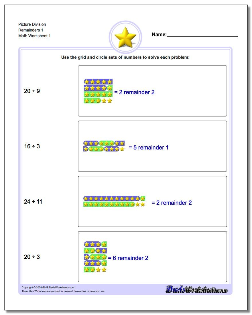 Picture Math Division – Division Free Worksheets