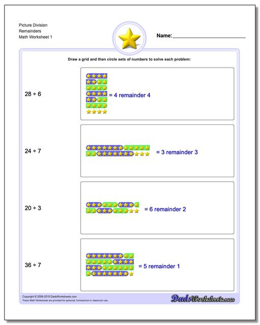 Picture Math Division Worksheets Remainders