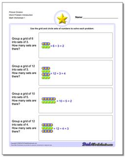 Picture Math Division Worksheet