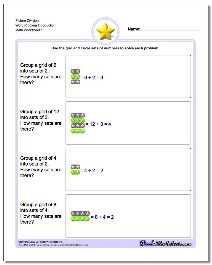 Picture Math Division – Division Problem Solving Worksheets
