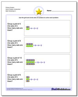Picture Division Worksheet Word Problem Introduction www.dadsworksheets.com/worksheets/picture-math-division.html