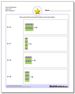 Picture Math Multiplication Worksheet Draw Grid 1
