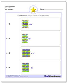 Picture Multiplication Worksheet Draw Grid 1 www.dadsworksheets.com/worksheets/picture-math-multiplication.html