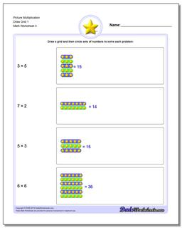 Picture Multiplication Worksheet Draw Grid 1 #Picture #Math #Multiplication #Worksheet