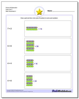 Picture Multiplication Worksheet Draw Grid 1