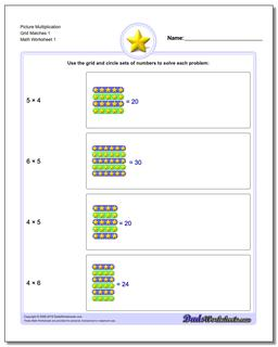 Picture Math Multiplication Worksheet Grid Matches 1
