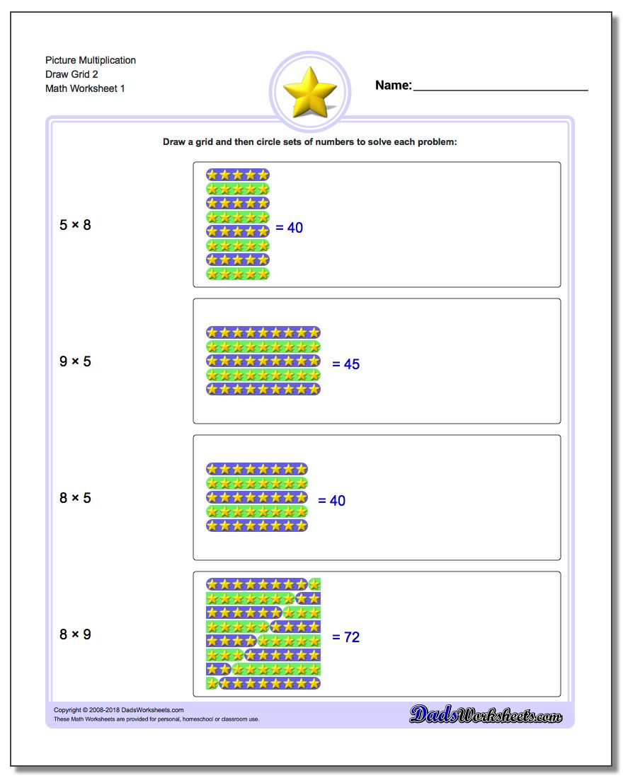 Picture Math Multiplication Worksheet Draw Grid 2