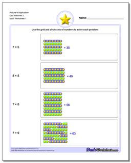 Picture Math Multiplication Worksheet Grid Matches 2