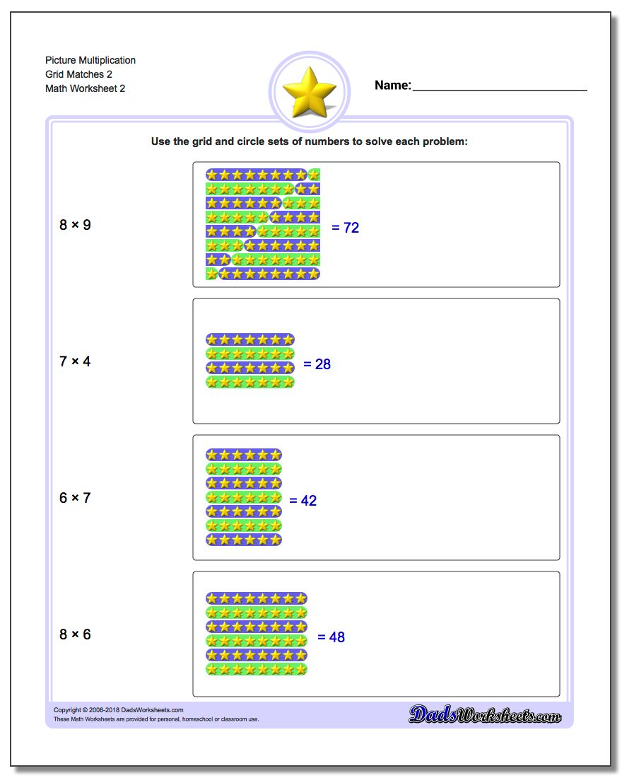 Picture Multiplication Worksheet Grid Matches 2 www.dadsworksheets.com/worksheets/picture-math-multiplication.html