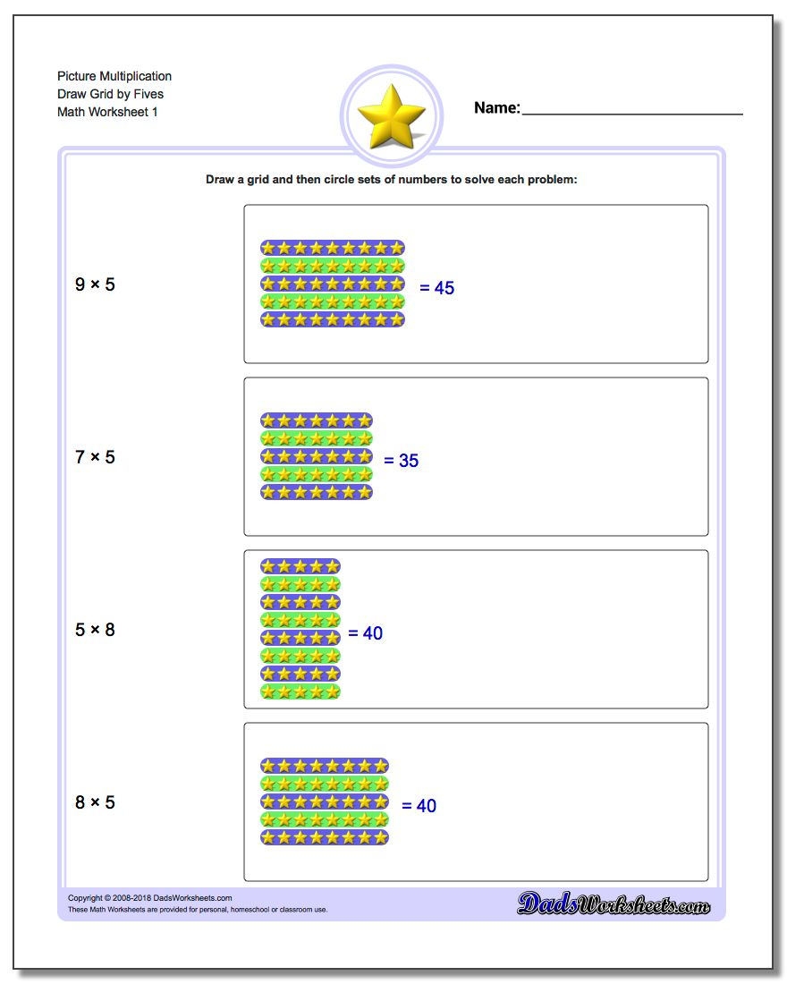 Picture Math Multiplication Worksheet Draw Grid by Fives