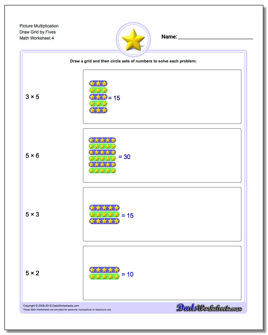 Picture Multiplication Worksheet Draw Grid by Fives