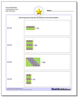 Picture Math Multiplication Worksheet Grid Matches by Fives