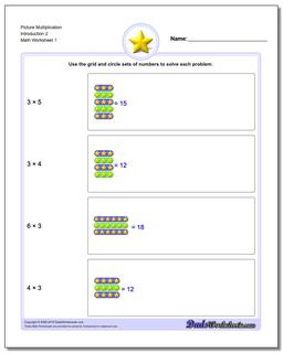 Picture Math Multiplication Worksheet Introduction 2