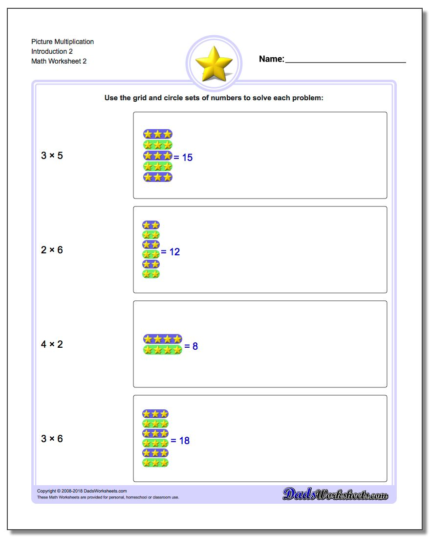 Picture Multiplication Worksheet Introduction 2 www.dadsworksheets.com/worksheets/picture-math-multiplication.html