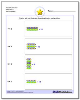 Picture Multiplication Worksheet Introduction 2
