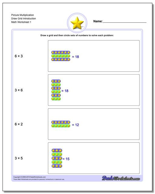 Picture Math Multiplication Worksheets Draw Grid