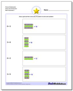 Picture Math Multiplication Worksheet Draw Grid