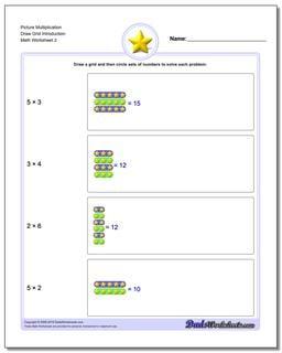 Picture Multiplication Worksheet Draw Grid Introduction www.dadsworksheets.com/worksheets/picture-math-multiplication.html