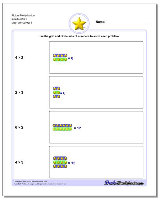Picture Math Multiplication Worksheets