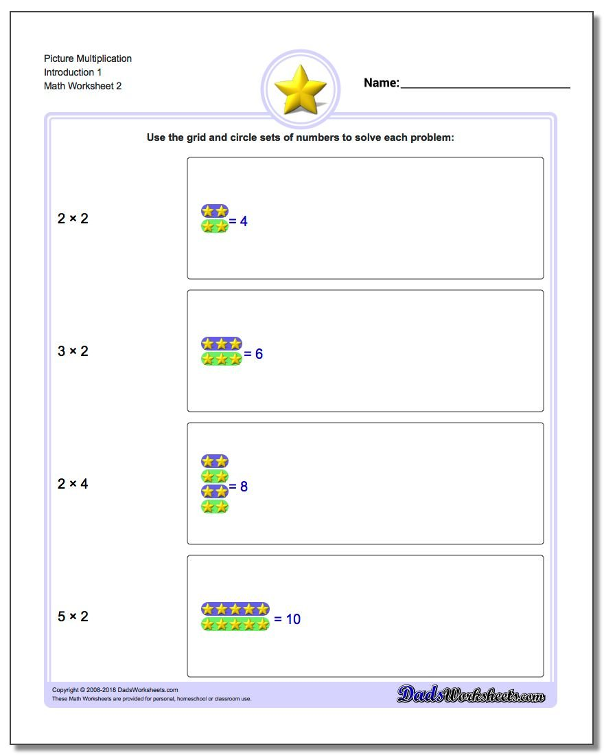 Picture Multiplication Worksheet Introduction 1 www.dadsworksheets.com/worksheets/picture-math-multiplication.html
