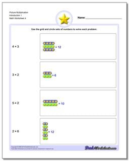 Picture Multiplication Worksheet Introduction 1