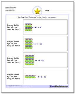 Picture Math Multiplication Worksheet Word Problems Worksheet