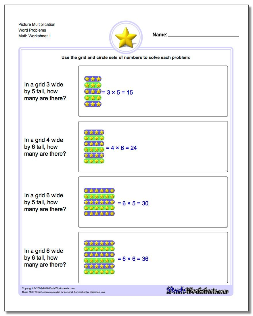 Picture Math Multiplication Worksheet Word Problems Worksheet