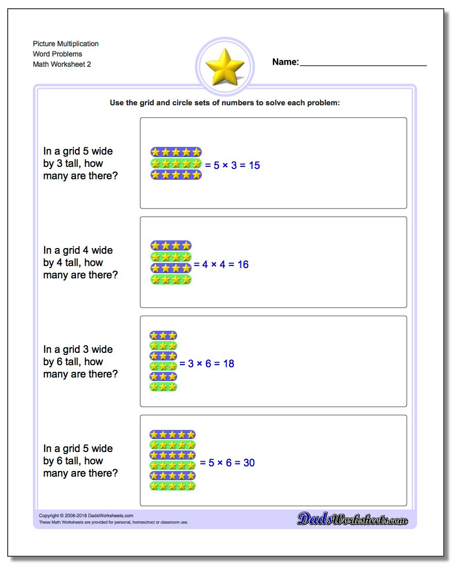 Picture Multiplication Worksheet Word Problems Worksheet www.dadsworksheets.com/worksheets/picture-math-multiplication.html