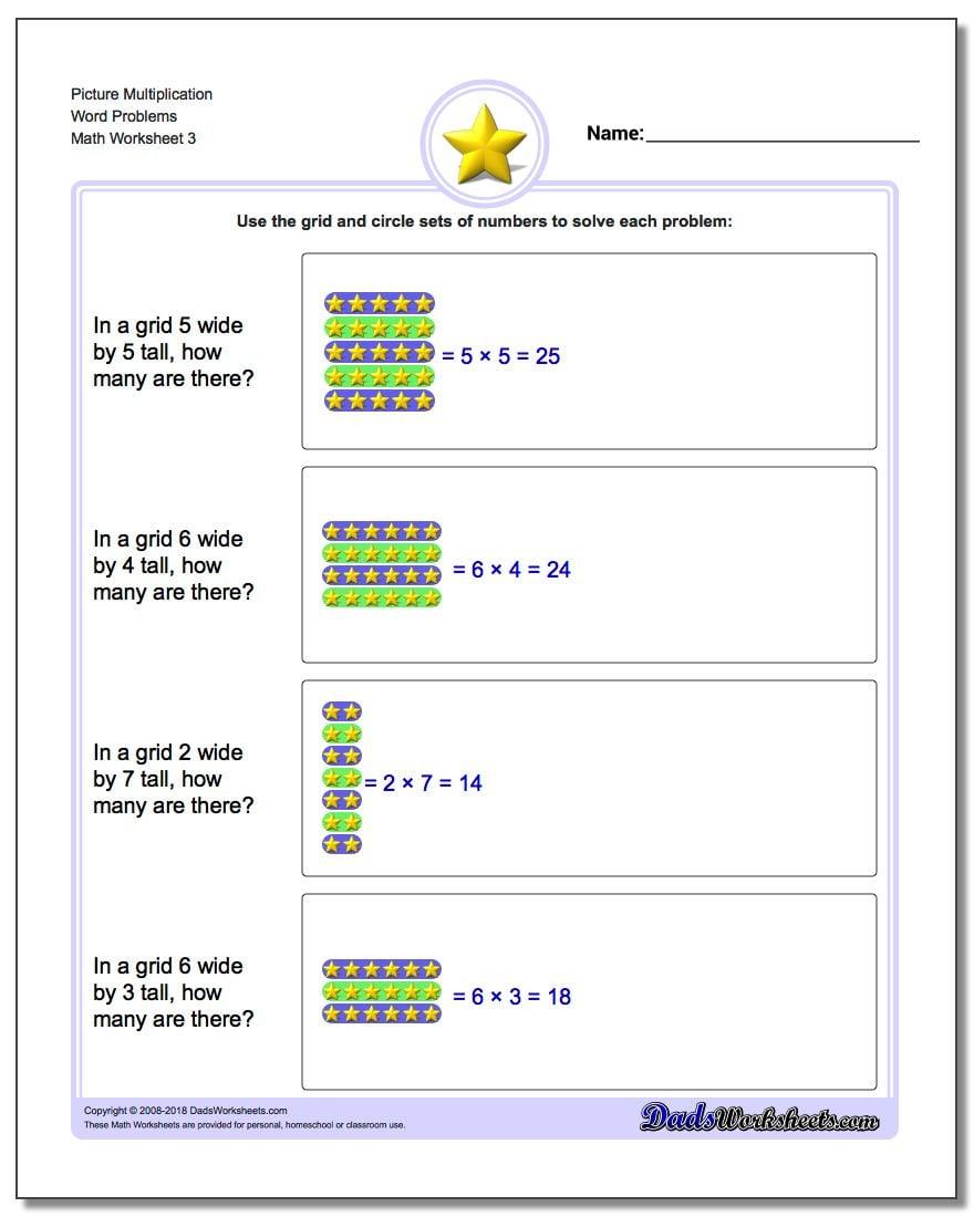 Picture Multiplication Worksheet Word Problems Worksheet
