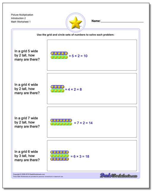 Picture Math Multiplication Worksheets Introduction 2