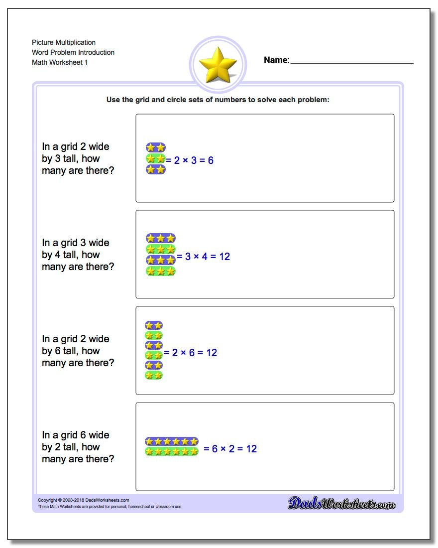 Picture Math Multiplication Worksheet Word Problem Introduction
