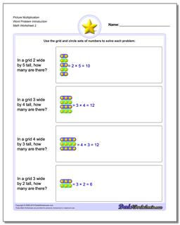 Picture Multiplication Worksheet Word Problem Introduction www.dadsworksheets.com/worksheets/picture-math-multiplication.html